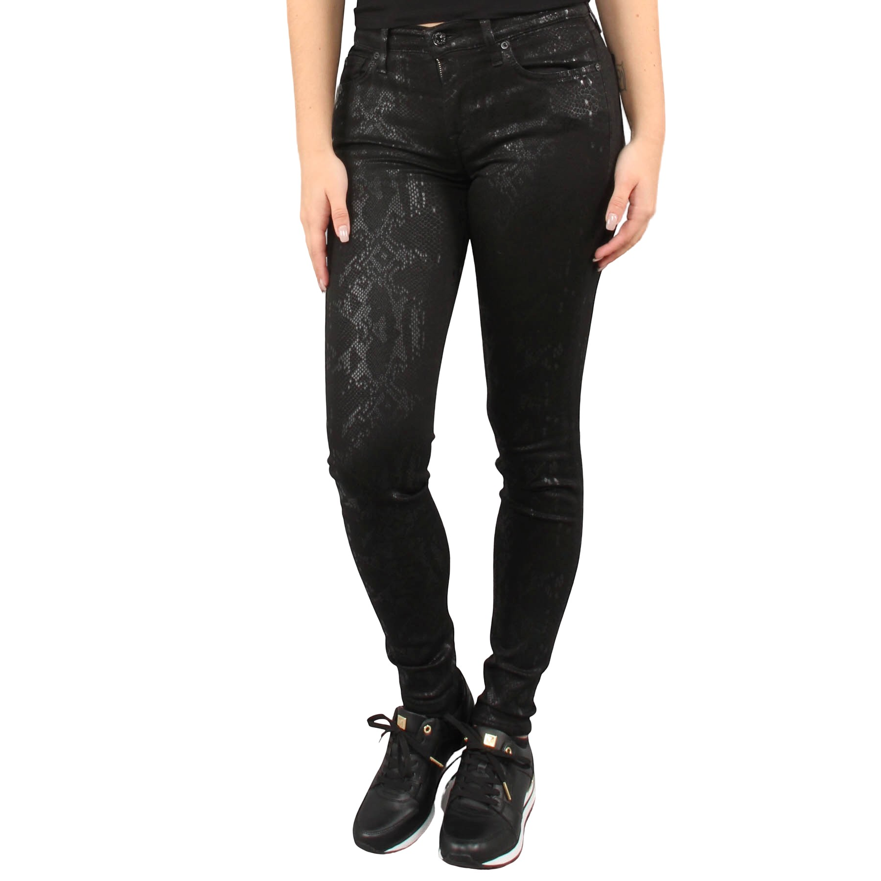 7 for all mankind The SKinny Coated Snakeskin